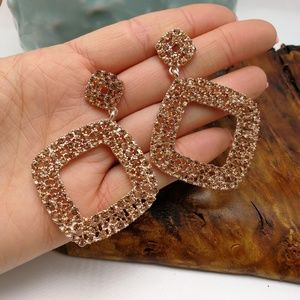 🌵 Vintage Prom square rose gold rhinestone bling